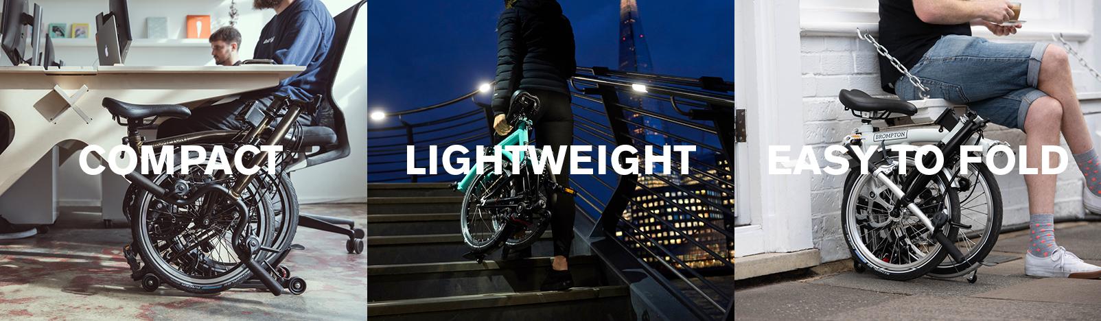 Brompton folding bikes, compact, lightweight, easy to fold